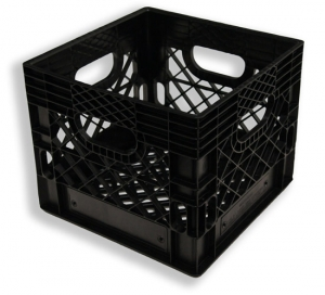 Square Milk Crate Black (16 quart)